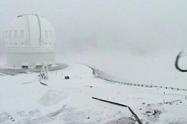 Гавайи засыпало аномальным количеством снега: фото и видео