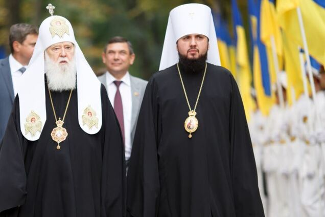 Патриарх Филарет, бывший глава УПЦ УП, и Епифаний, предстоятель ПЦУ