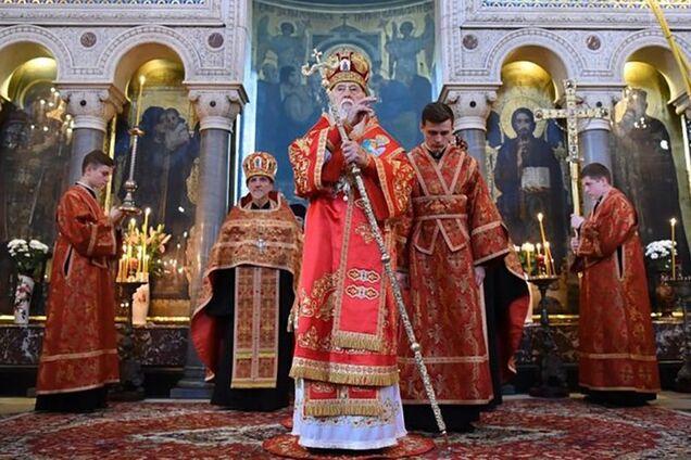 Почетный патриарх Филарет на богослужении во Владимирском соборе в Киеве