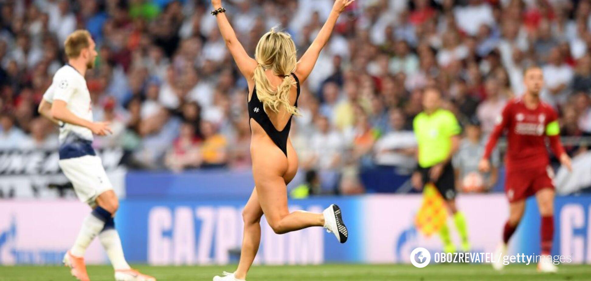 Полуголая болельщица выбежала на поле во время финала Лиги чемпионов