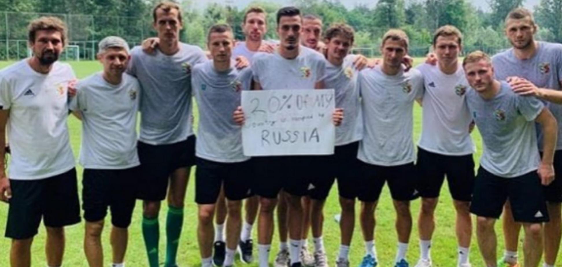 'Моя страна оккупирована': футболисты 'Ворсклы' поддержали акцию против России