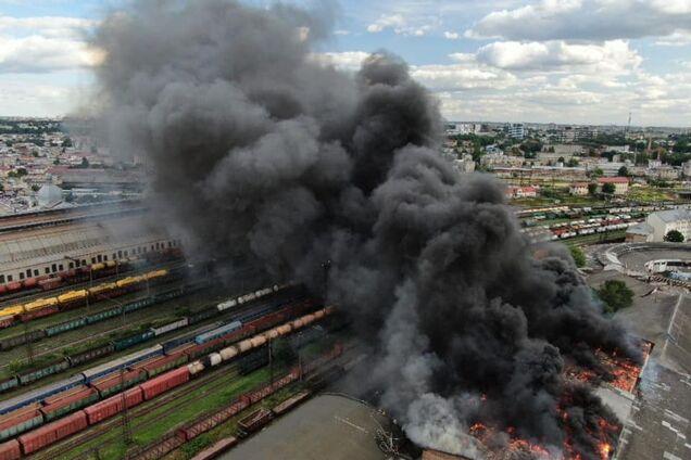 Пожар на вокзале во Львове