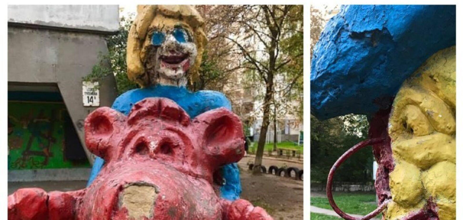 В Киеве обнаружили жуткую детскую площадку: фото
