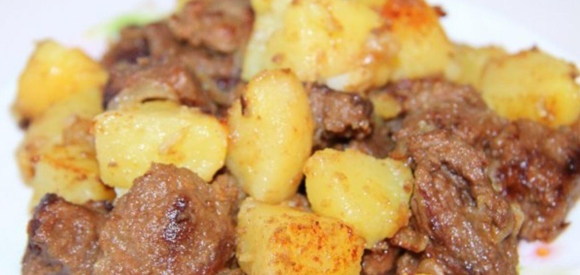 Рецепт вкуснейшей жареной говядины с картошечкой на сковороде