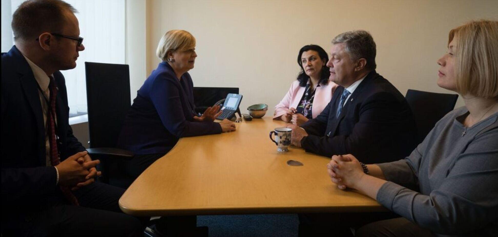 Геращенко и Порошенко на встрече в Страсбурге