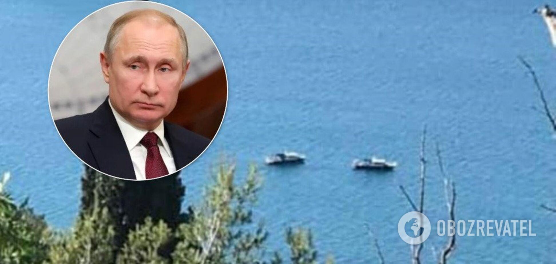 'Приехали к царю': возле 'дачи Путина' в Крыму засветились российские военные корабли