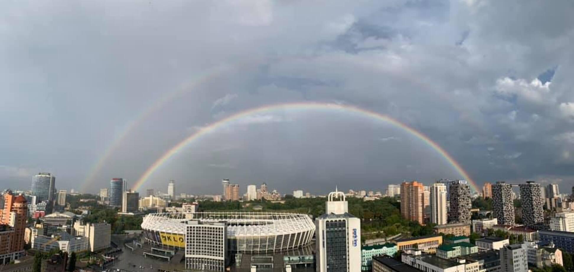 Двойная радуга над Киевом