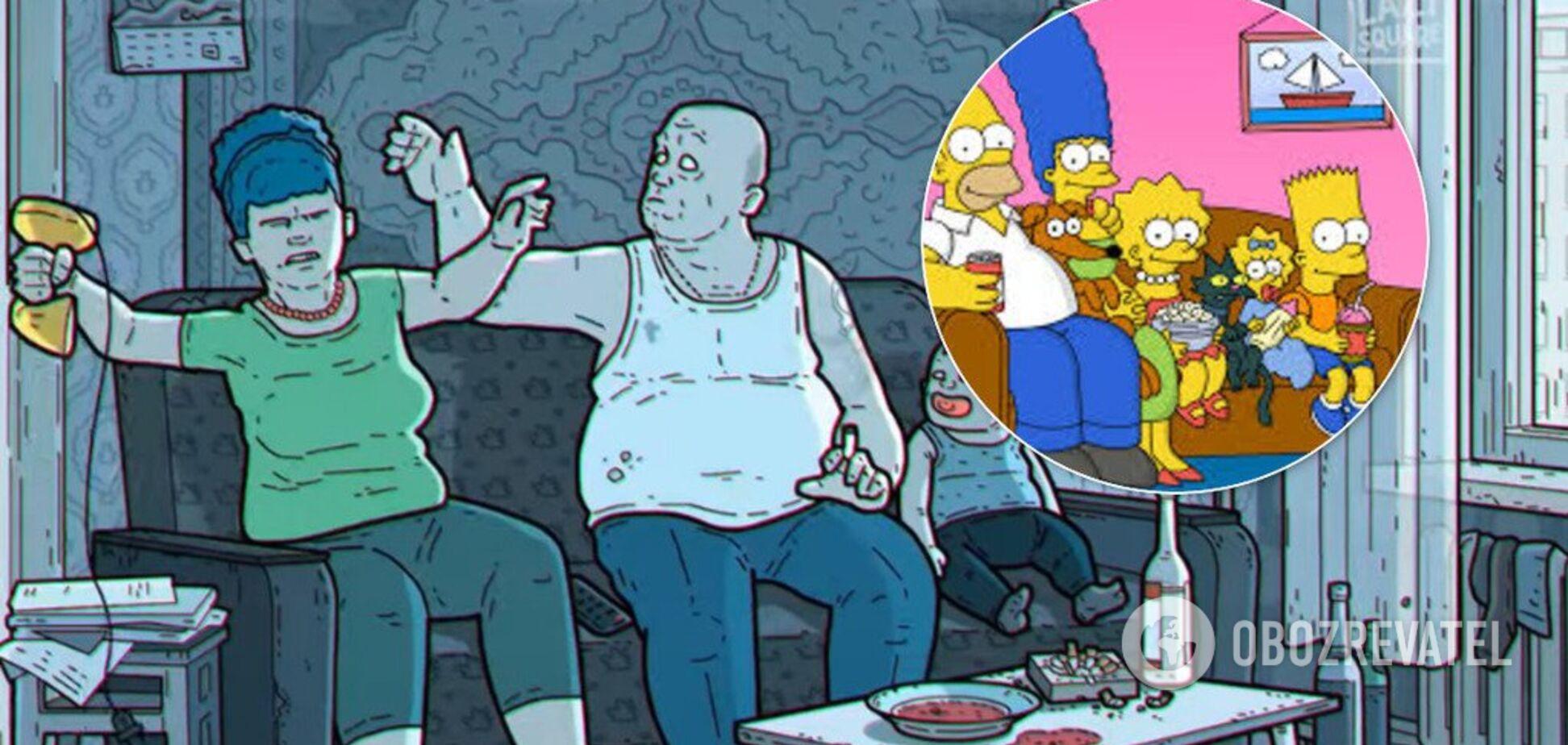 Охранник Гомер и гопник Барт: в России показали свою мрачную версию 'Симпсонов'