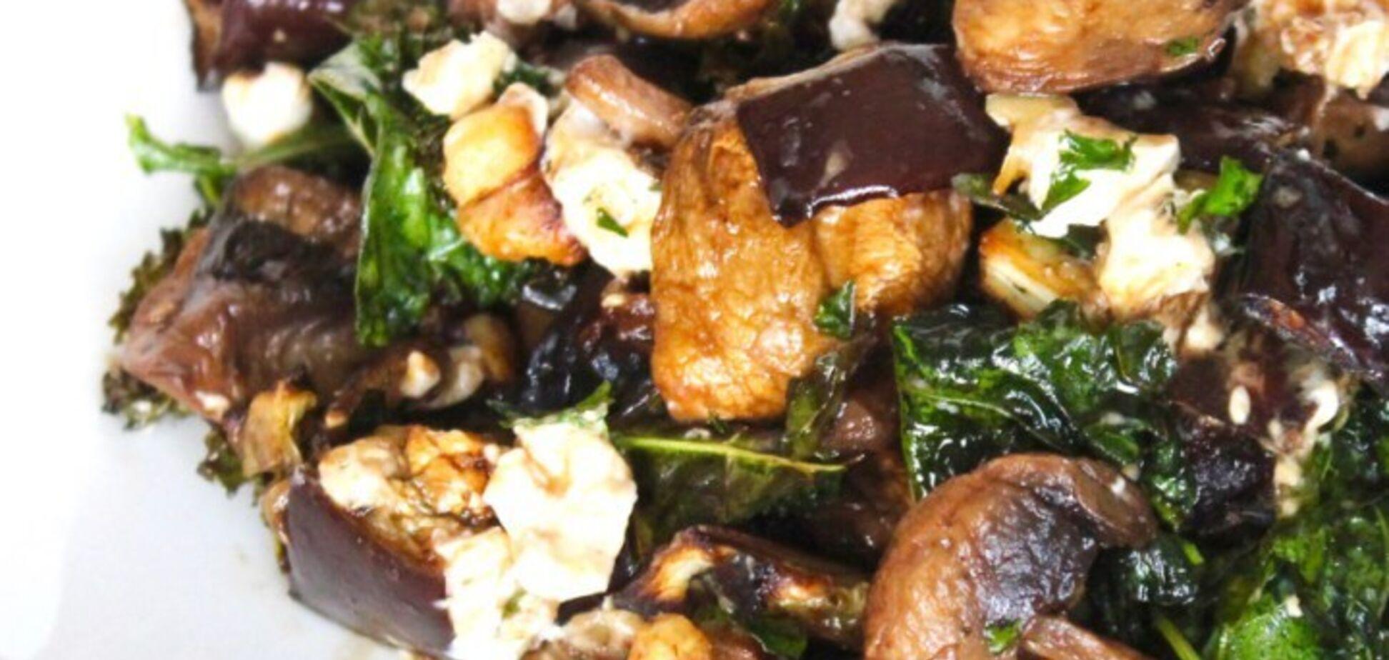 Рецепт надсмачного салату з баклажанами та грибами