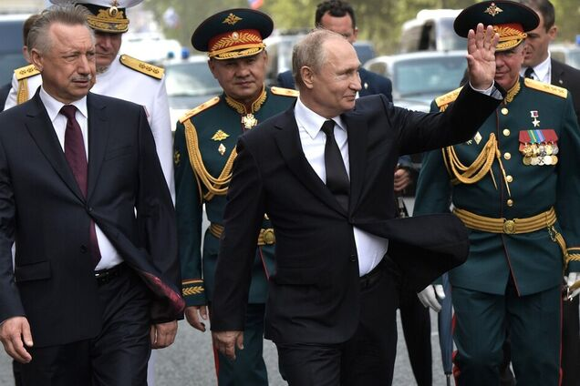 Владимир Путин, Сергей Шойгу на военно-морском параде в Санкт-Петербурге