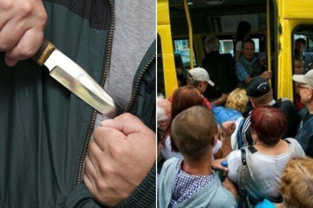 В Днепре нетрезвый мужчина набросился на пассажиров маршрутки