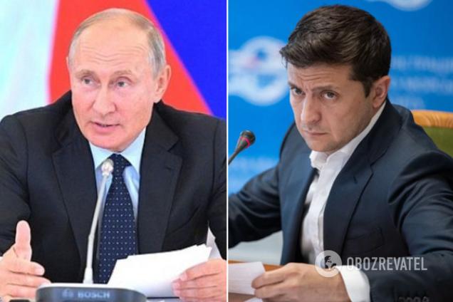 Президенты РФ и Украины Владимир Путин и Владимир Зеленский