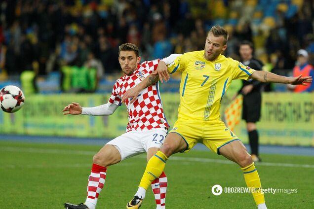 Андрей Ярмоленко (справа) в матче с Хорватией