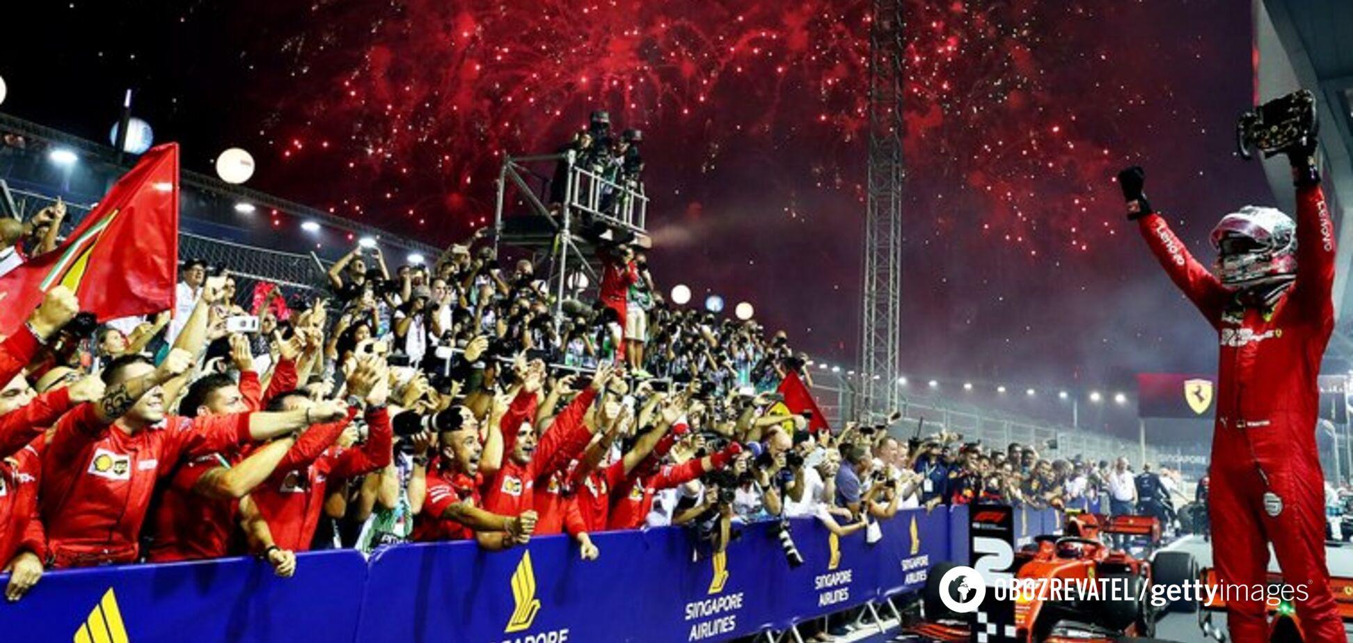 Формула-1: Ferrari зробили золотий дубль на Гран-прі Сінгапуру