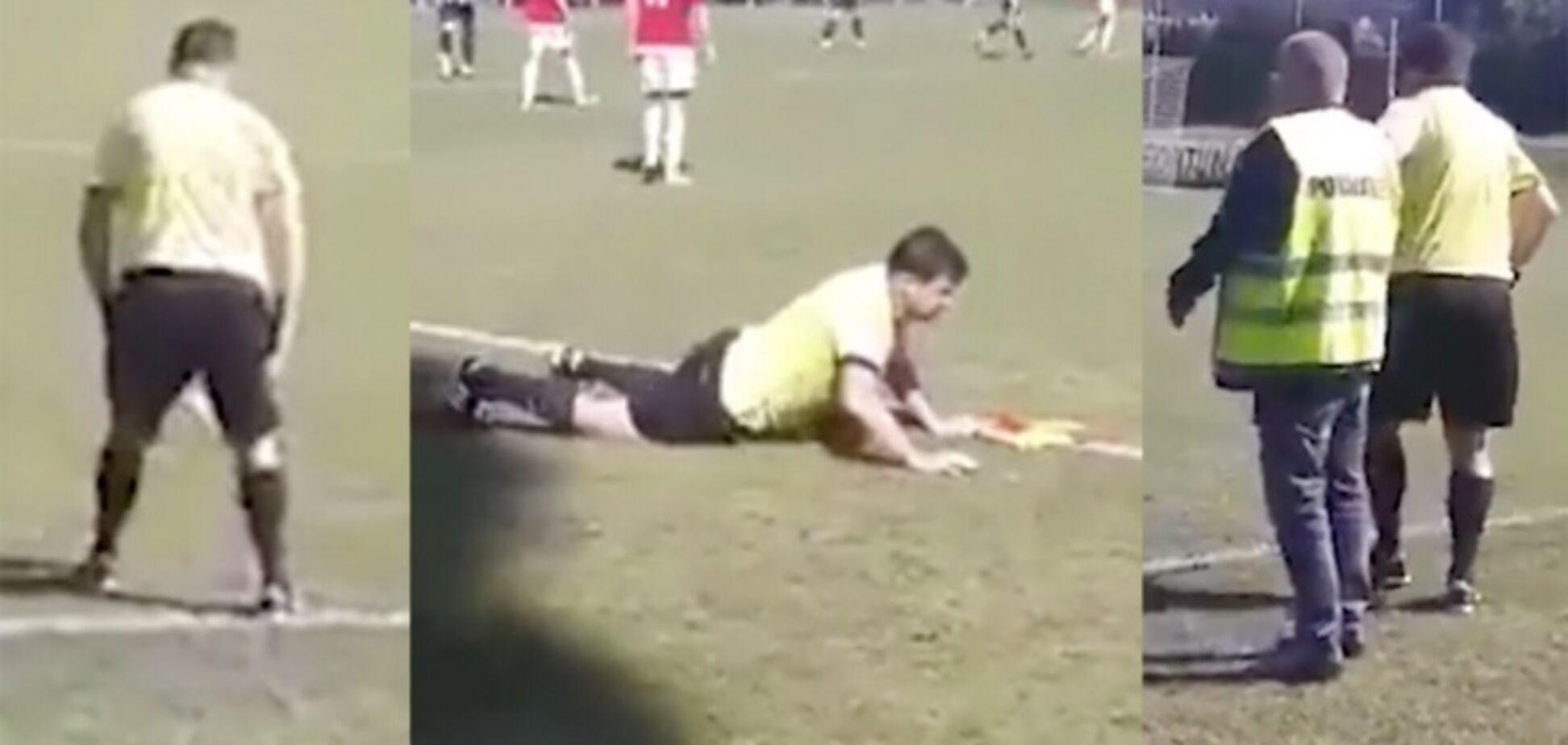 Футбольный арбитр выполз на матч пьяным