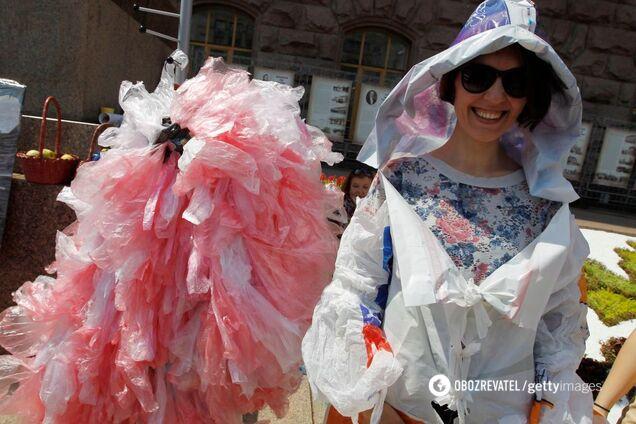 Акция протеста против использования пластиковых пакетов в Киеве