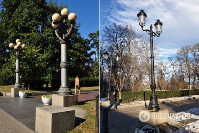 Ліхтарі ДО і ПІСЛЯ заміни в Маріїнському парку