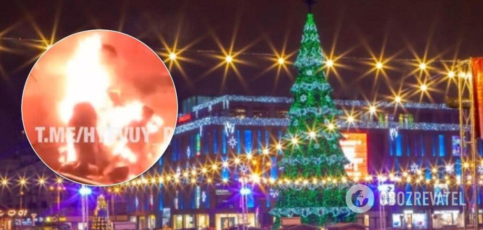 Загорелся на площади: в центре Днепра загадочно погиб мужчина. Видео 18+