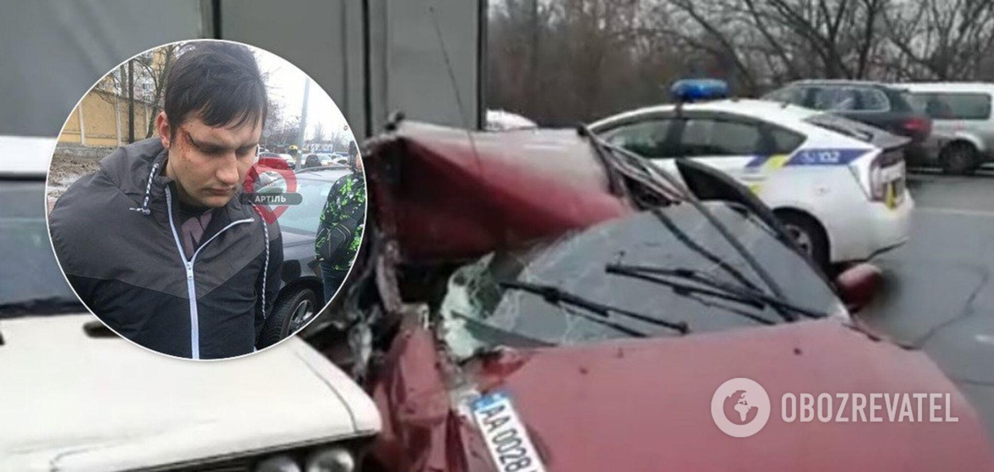 У Києві п'яний 'активіст' розбив шість авто. Фото і відео