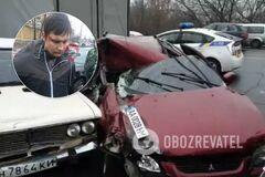 В Киеве пьяный 'активист' разбил шесть авто. Фото и видео