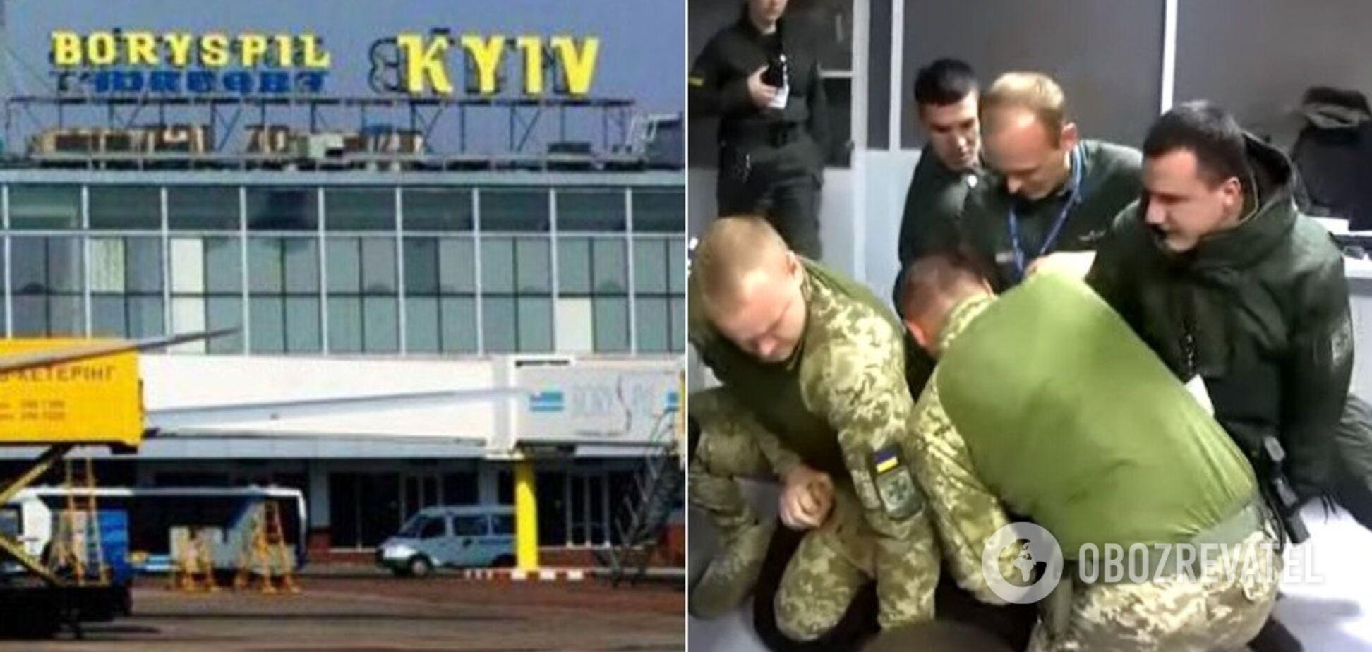 В 'Борисполе' пьяный турист с матами набросился на пограничников. Видео