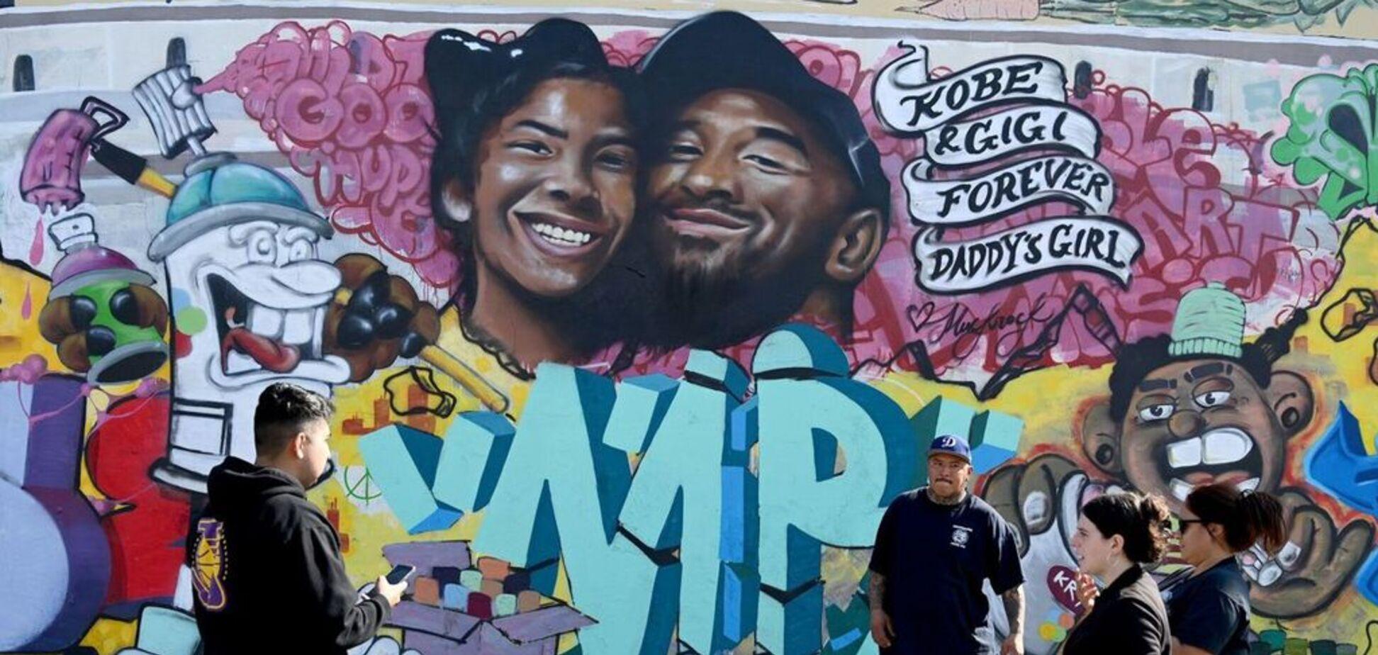 Граффити с изображением Коби Брайанта и его дочери Джанны Марии