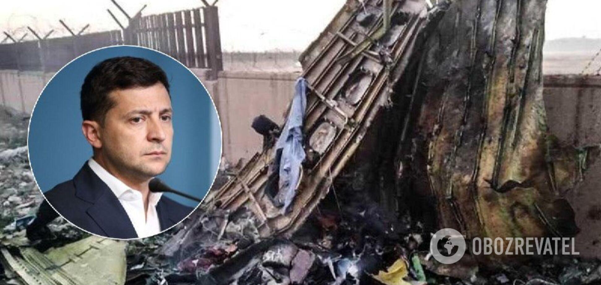 Владимир Зеленский и место крушения самолета