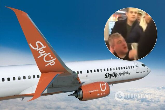 Во Львове пассажиры самолета SkyUp избили пьяного дебошира