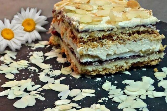 Песочный торт с прослойкой безе