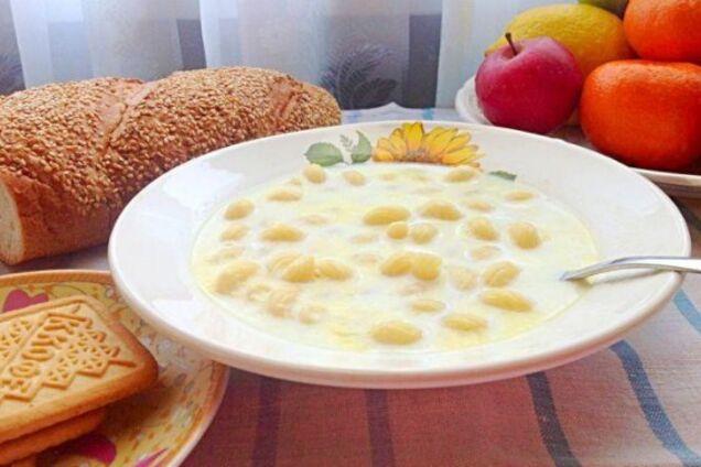 Молочный суп с рожками