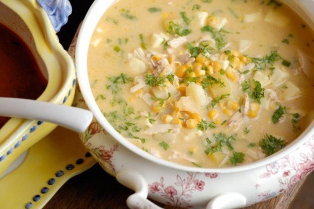 Молочный суп с индейкой