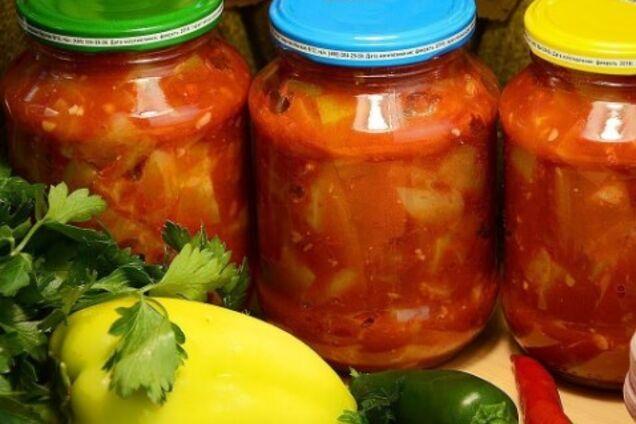 Салат с тыквой и перетертыми томатами