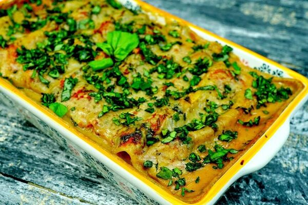 Канелоні з тофу і шпинатом