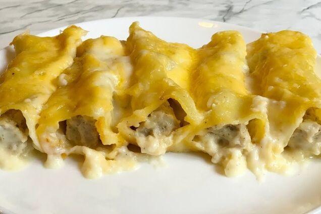 Каннеллони с сыром и чесноком