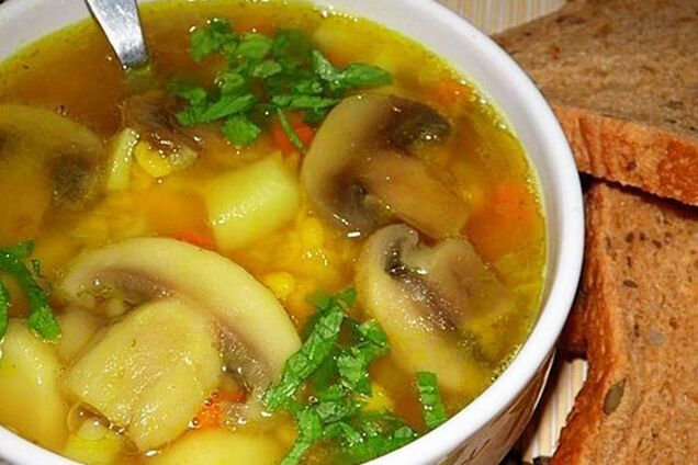 Гороховий суп з грибами