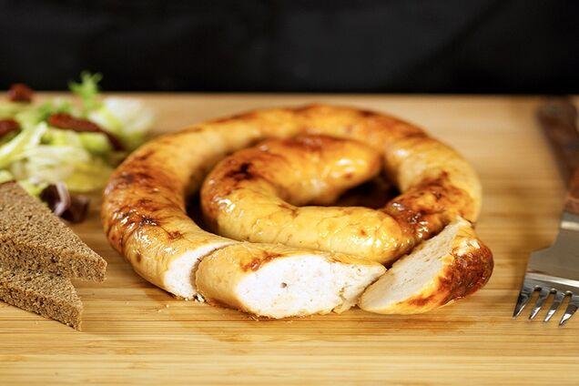 Домашняя куриная колбаса в кишке