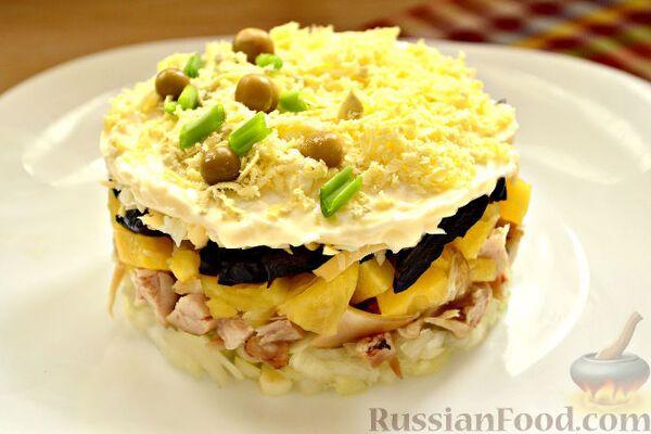 Салат з чорносливом і грибами