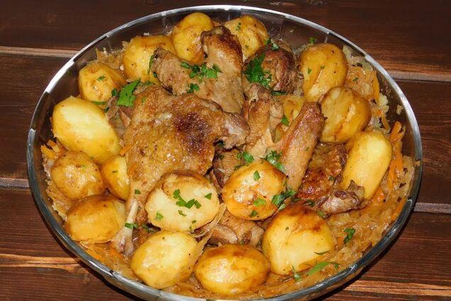 Тушкована картопля з качкою