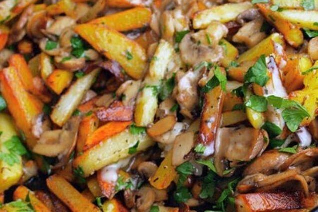 Картопля зі смаженими грибами
