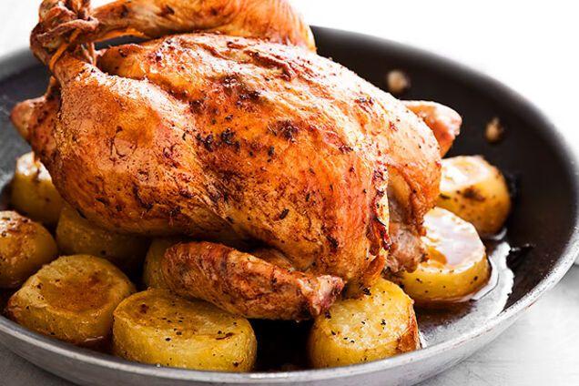 Печеная картошка с курицей
