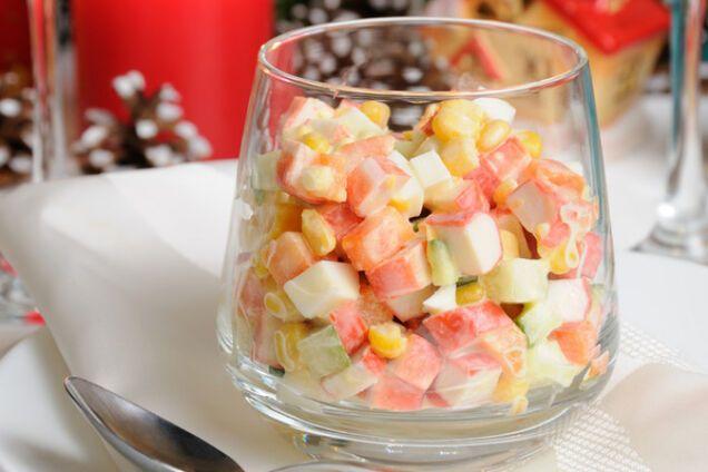 Салат з крабовими паличками без рису