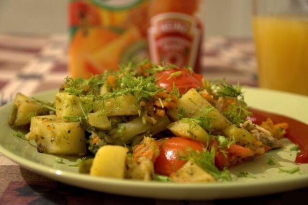 Картопля з овочами мультиварці