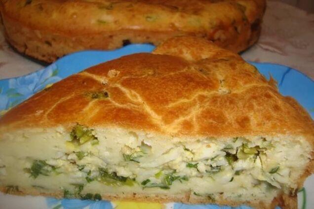 Цибулевий пиріг на кефірі
