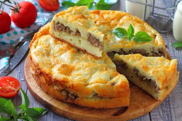 Заливний пиріг із фаршем