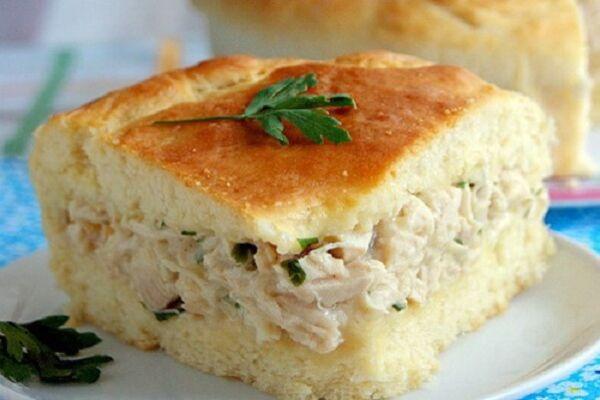 Заливной пирог с курицей и сыром