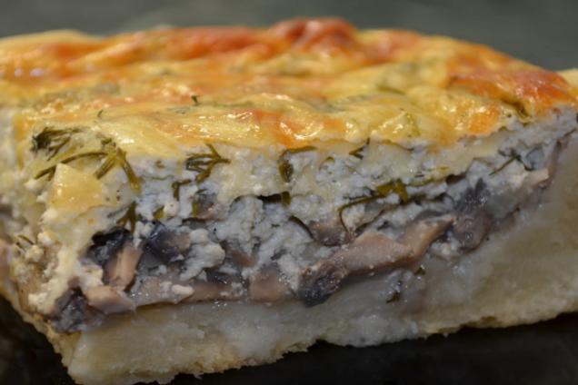 Пиріг із грибами та сиром