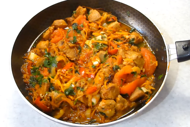Жареное мясо с овощами