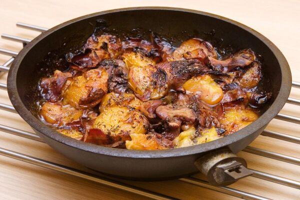 Жареная утка на сковороде