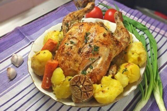 Курка в рукаві з овочами
