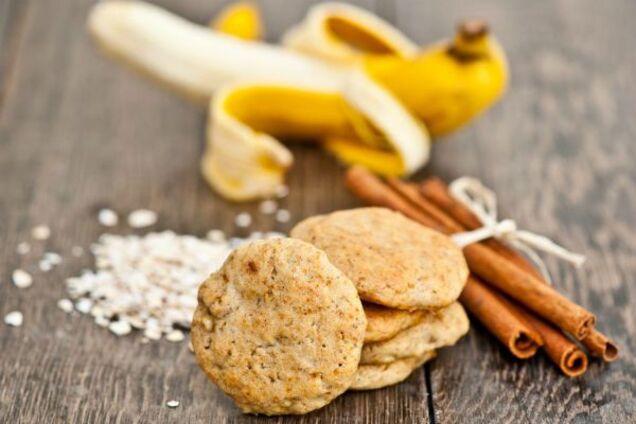 Овсяное печенье с бананом и хлопьями